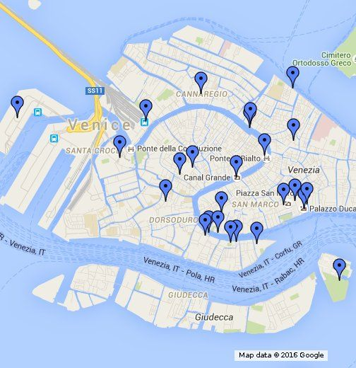 Az olaszországi Velence térképe, a látnivalók feltüntetésével. http://utazas-nyaralas.info/olaszorszag/velence.html