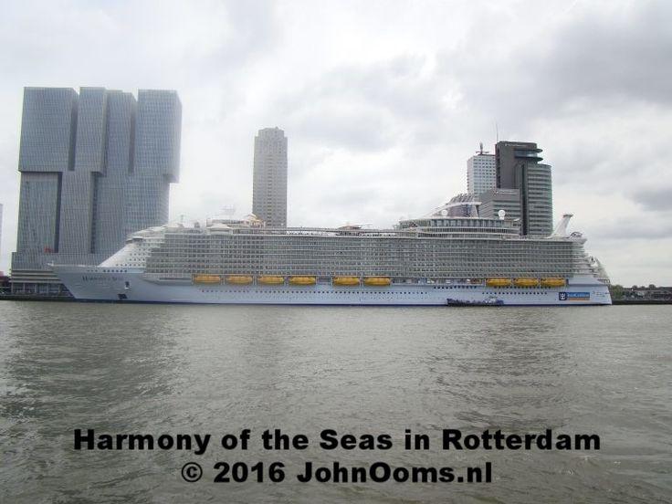 """2016 –  Het grootste cruiseschip ter wereld, """"Harmony of the Seas""""  meert in Rotterdam aan. Het schip is 362 meter lang en 48 meter breed, waardoor ze bij tewaterlating ook het breedste cruiseschip ooit is. Het schip heeft onder andere een zwembad met drie glijbanen, die drie dekken lager uitkomen. In totaal biedt het schip onderdak aan 6360 passagiers en 2394 bemanningsleden."""
