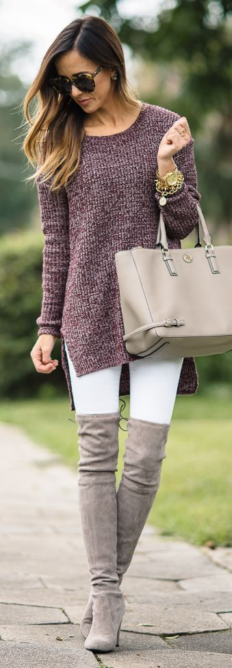 Bordeaux Tunic Sweater Fall Inspo by Sequins & Things