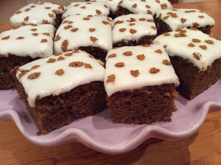 Miranda Gore-Browne sticky gingerbread with thick lemon icing. Yum yum!