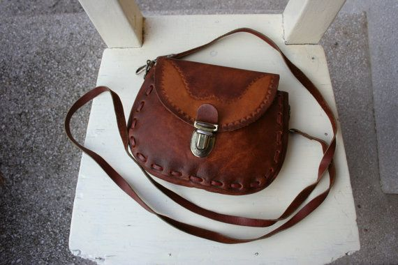 Vintage brown leather crossbody bag small by TaylorGirlsShop
