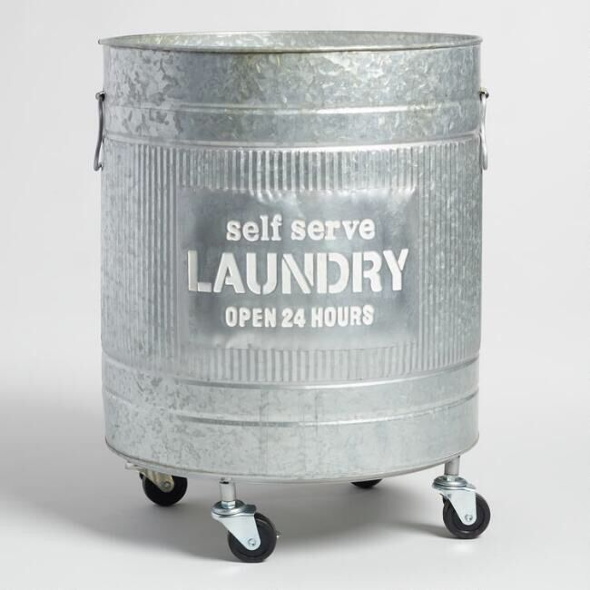 """Metal laundry hamper on rolling casters """"Self Service Laundry Open 24 hours"""" 