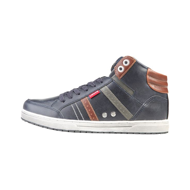 Run your Elegance 365 days a year! Elegance is a mindset Sam Blue - Levis - Blue and Brown high top Men sneaker - Runit365 your Elegant Men Store  #tie #shoes #classy #silk #leather