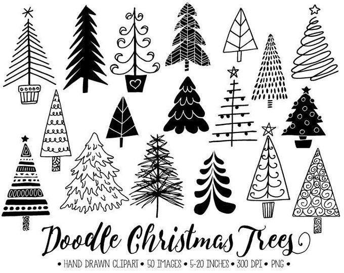 Christmas Tree Clipart Hand Drawn Christmas Doodles Winter Etsy Christmas Tree Clipart Christmas Tree Drawing Christmas Doodles