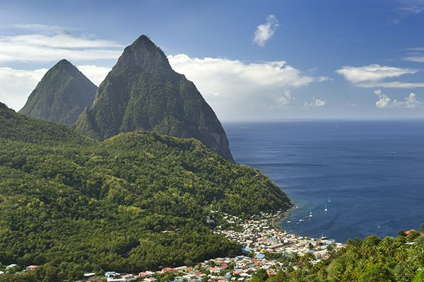 The Pitons (Petite Piton, right, and Gros Piton) Soufriere, St. Lucia