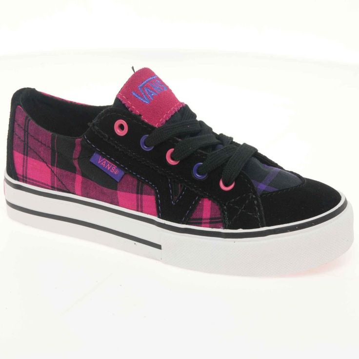 Black Vans Shoes for Girls | ... › Vans Vans Tory Junior Black Plaid Canvas Lace Up Girls Shoes