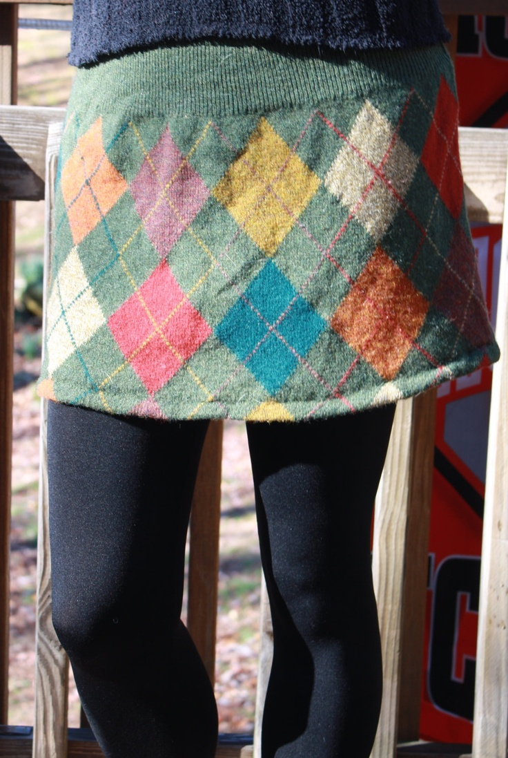 Upcycled (from a sweater) Argyle Mini Skirt