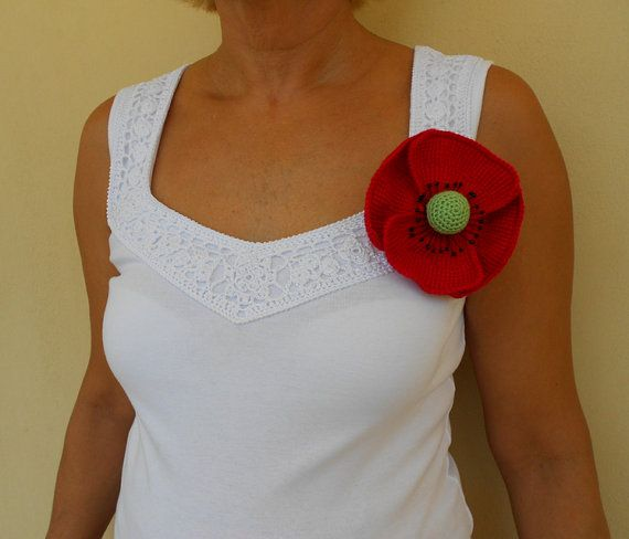 Red poppy broochRemembrance Day Poppy Appeal by PinkOliveGifts