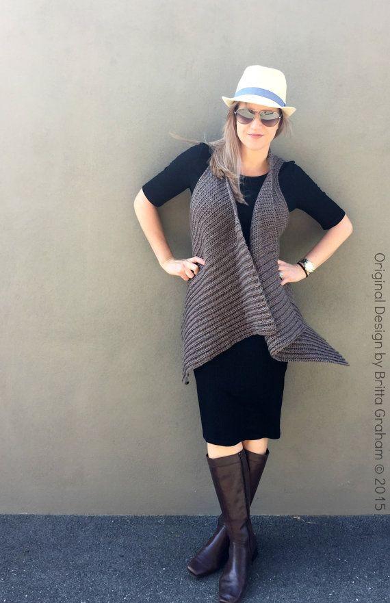 Easy Crochet Vest Pattern Waterfall Style No.933 by bubnutPatterns