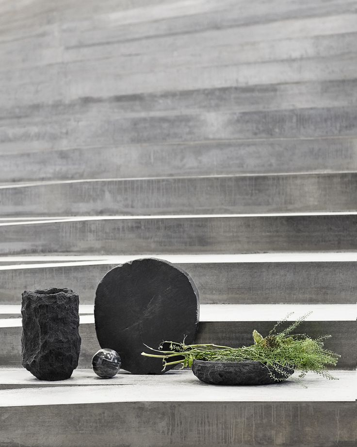 Dark and stylish vases and bowls.
