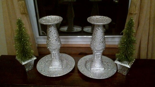 Repurposed candle holders and votive holders tuurned in for Mantle holders