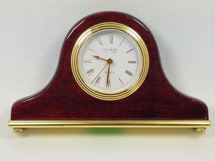 Danbury Clock Company Quartz Desk Size Wood Mantle Clock ...
