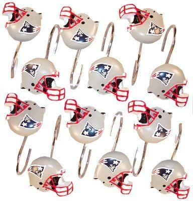 Bon New England Patriots Set 12 Bathroom Shower Curtain Hooks