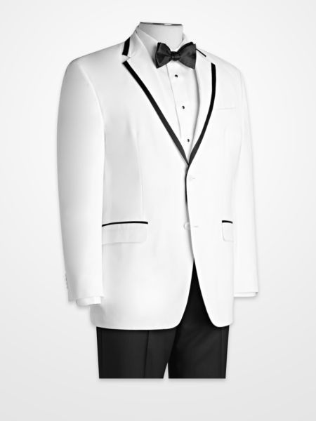 White Sport Coat With Black Trim | Down Coat