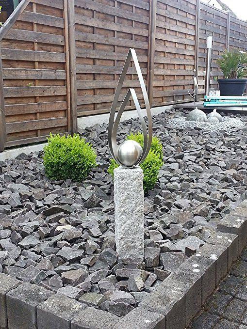 Edelstahl granitsteins ule palisade kerze mit - Edelstahl deko garten ...