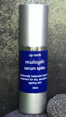 Midnight Serum Spike | Up North Skin Care  Regenerative, nutritionally balanced facial serum with pure and therapeutic essential oils and nutrients that will make your skin feel like silk.  This corrective treatment delivers a surge of moisture deep into the skin, minimizing fine lines and restoring balance to dry areas  Serum spike can be used under moisturiser to nourish dry skin, or as a targeted treatment for lines in the eye and lip areas.