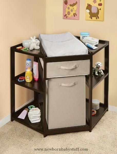 Baby Accessories Espresso Diaper Corner Changing Table with Hamper Basket | C...