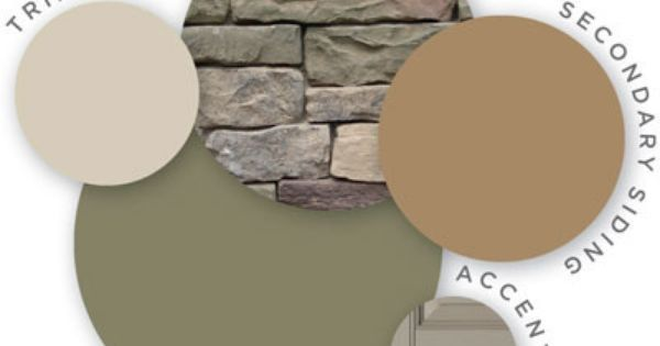 This shows trim as a light tan, the main siding as green, the triangle areas as the darker tan and then an accent color for door etc.  These types of pins show how stone and the colors can go together.