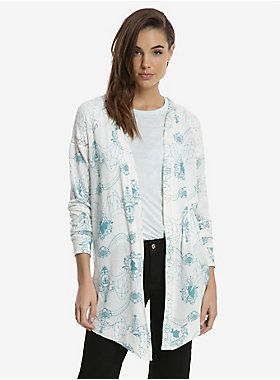 "<div>Sometimes, even mermaids get chilly. Warm up in style with this flyaway cardigan from Disney's The Little Mermaid. The ivory cardigan has an ivory lace raglan sleeve & back panel, and an allover teal nautical Ariel chandelier style print. The perfect sweater for those cool summer nights at the beach. </div><div><ul><li style=""list-style-position: inside !important; list-style-type: disc !important"">94% polyester; 6% spandex</li><li style=""list-style-position: inside !important; lis"