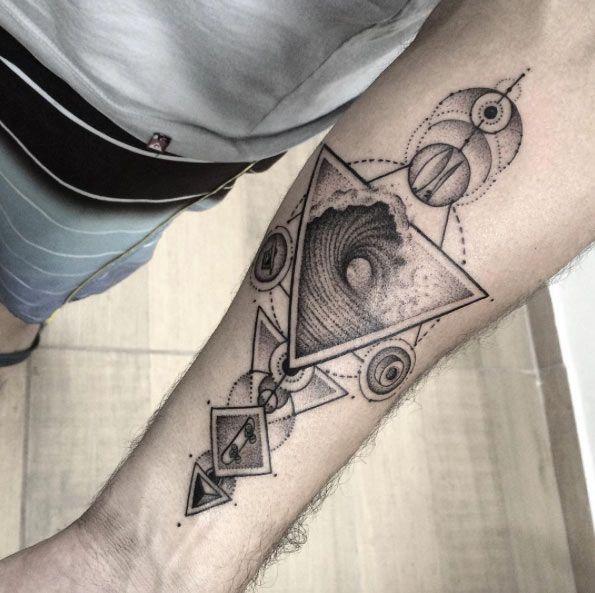 Geometric Wave Tattoo Design by Gabriel Chapel