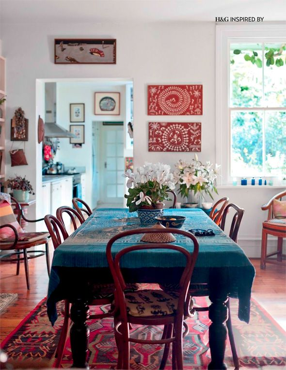 The dining room of Sally Campbell, as featured in our May 2013 issue of H&G. Just as you might imagine it would look. Photography Simon Kenny. #hgwomenindesign