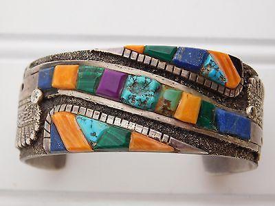 Navajo Pete Sierra Turquoise Cast Sterling Silver Cuff Bracelet Study w/ Loloma