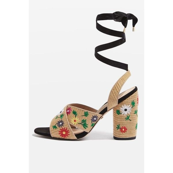 Topshop Reena Embroidered Tie Sandals (105 BRL) ❤ liked on Polyvore featuring shoes, sandals, natural, multi color high heel sandals, high heels sandals, strap sandals, strappy high heel sandals and multi color sandals