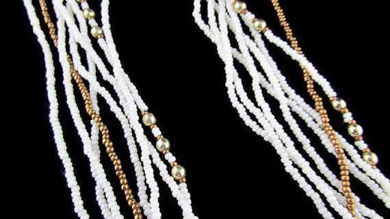 Jahrgang Seed Bead Halskette, Multi-strängige Seed Bead Halskette, Halskette Weissgold, Strand-Halskette, minimalistischen Halskette frei uns Versand