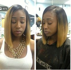 Online Shop Short Ombre Blonde Brazilian Bob Wig Cheap Beyonce Glueless Front Lace Wig For African American With Baby hair bangs|Aliexpress Mobile