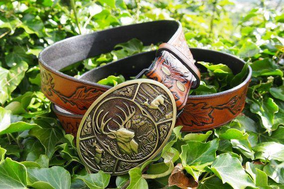 oak leafs leather belt leather carved belt by PocillatorWorkshop