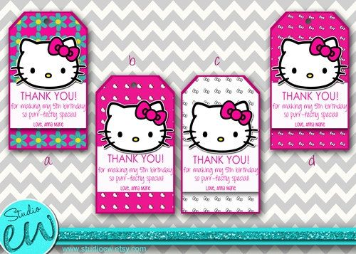 Hello Kitty Thank You Tags Printable Hello Kitty Gift by StudioEW