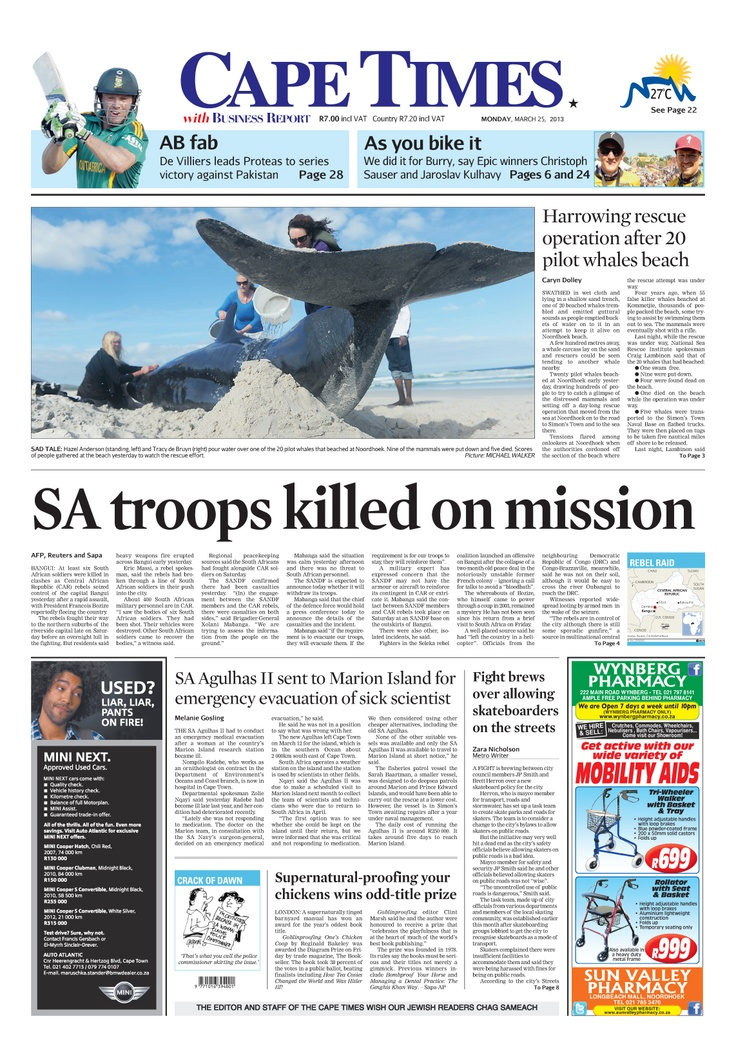 News making headlines:  SA troops killed on mission