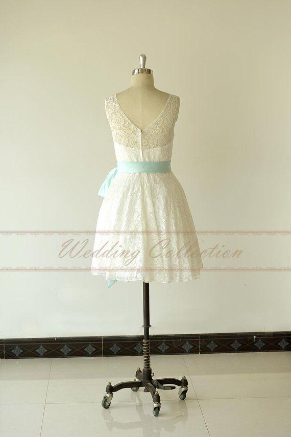 Spitze kurzes Hochzeitskleid Ziel von Weddingcollection auf Etsy