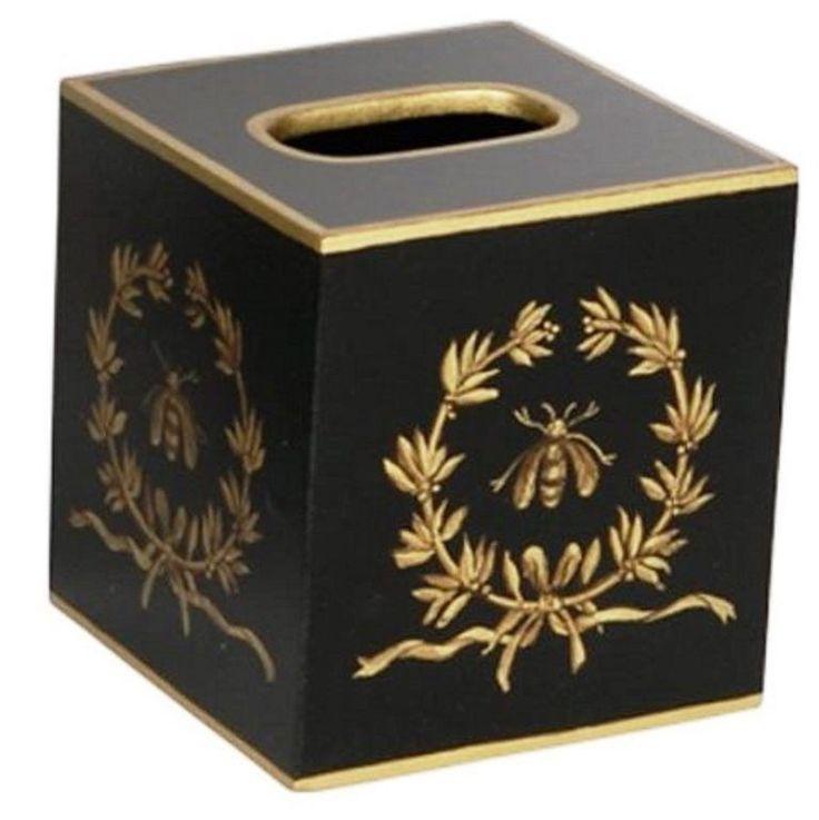 Bathroom Tissue Box Cover Accessories Decor Ideas Bee Black Gold