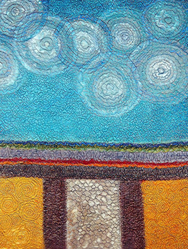 """""""Zomer """"75x100 cm. 2015 Geskea Andriessen Freemotion naaiwerk op grijs katoen. 20 % krimp en diverse textielverf toegepast. https://www.facebook.com/GeskeaTextileArt"""