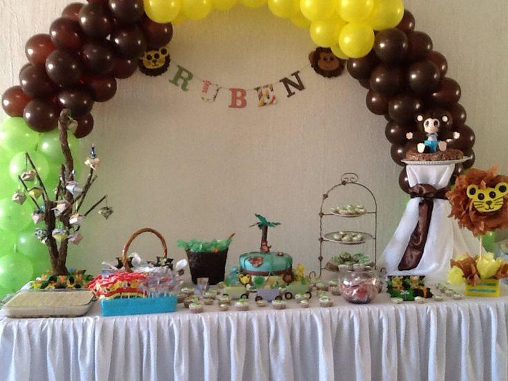 mesa de postres baby shower tema animales festejando pinterest