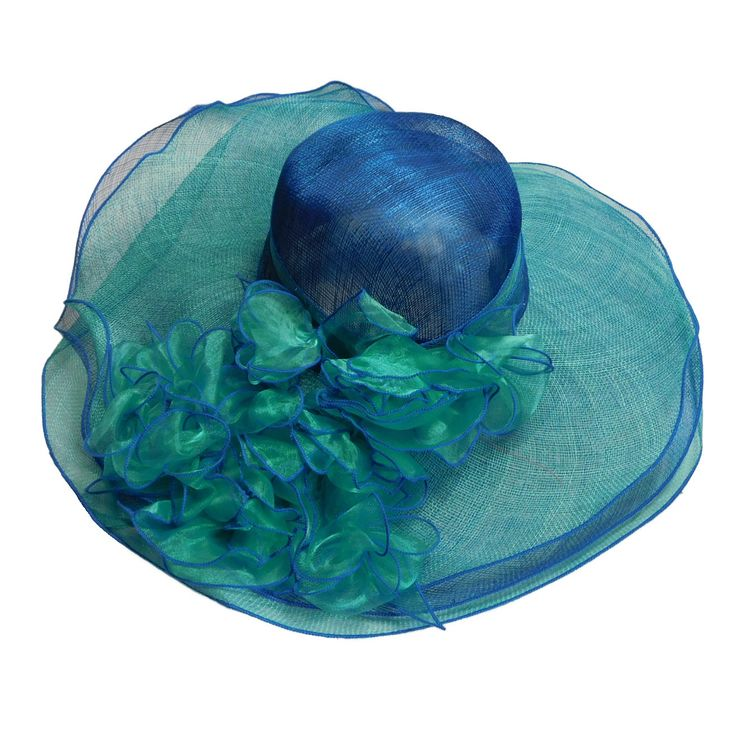 "Two tone sinamay hat. Three layer brim, 6.5"" wide. Sheer flowers with contrast trim, and bead center. Satin band inside with drawstring. One size. 100% sinamyay"
