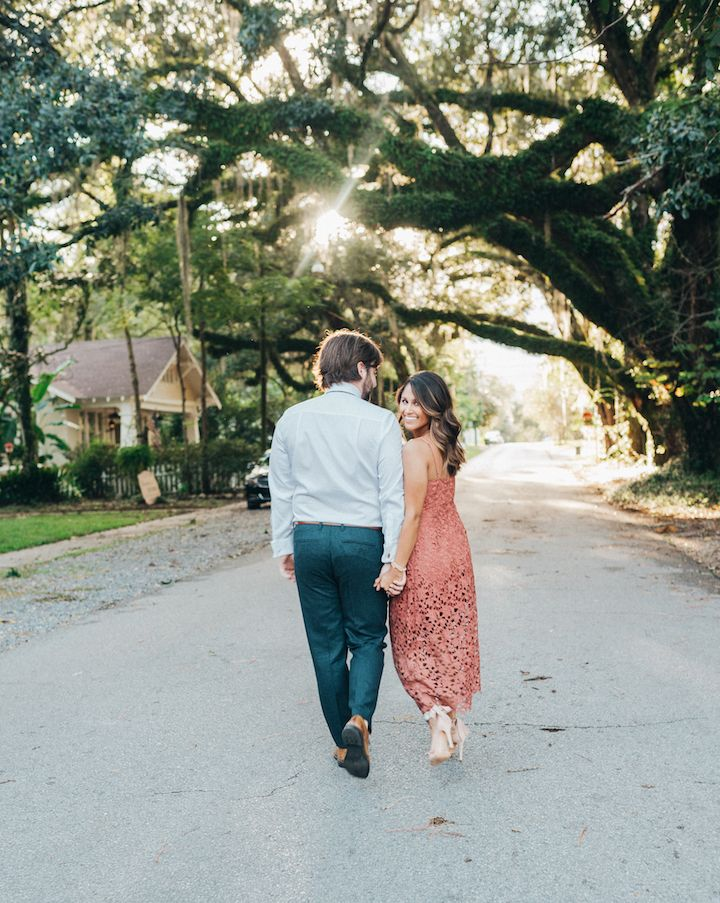 Haute Off The Rack, New Orleans blogger, Louisiana blogger, women's fashion, Engagement Pictures, Engagement Picture Ideas, What to Wear for Engagement Pictures, Rose Lace Midi Dress, Embellished Sandals, Schutz Heels,  His and Her Engagement Outfits, Engagement Picture Hair Ideas, Wedding Inspiration, Oak Tree Pictures, Oak Tree Engagement Pictures, Blogger Style, Schutz Collection, Kendra Scott Jewelry
