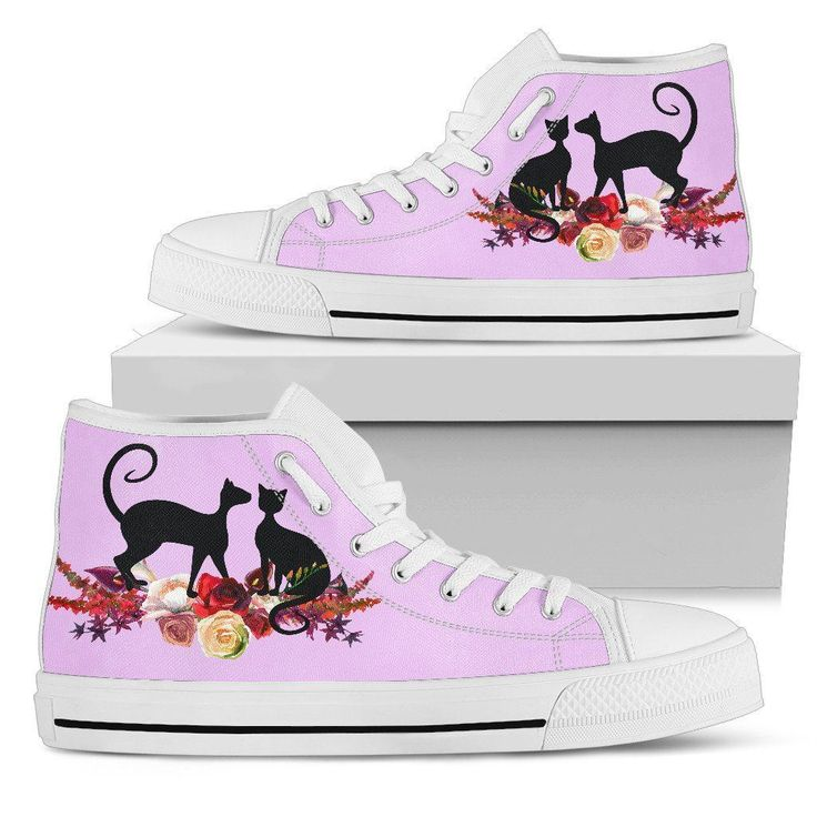 Floral Cat 'Violety' Ladies High Top Sneakers – Casa Catnip  Floral print cat sneakers. Shoes for cat lovers.