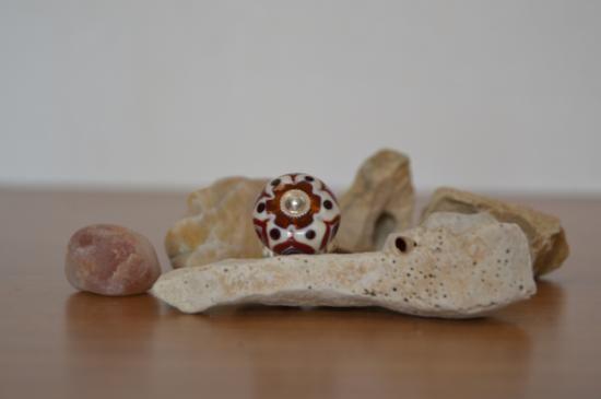 anello con cabochon realizzato a lume terra vetro effetre murano,lega metallo senza nichel lavorazione a lume