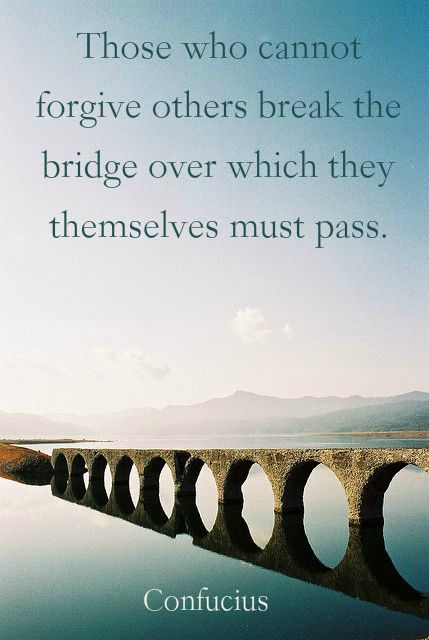 """Those who cannot forgive others break the bridge over which they themselves must pass.""  ― Confucius"