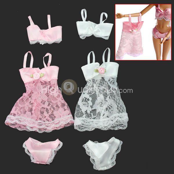 2 Conjuntos Sexy Pijamas Ropa Interior Lencería de Moda para Muñecas Barbies