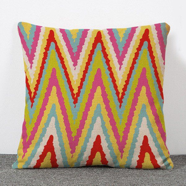 Chic Quality Multicoloured Stripe Pattern Flax Pillow Case(Without Pillow Inner) #jewelry, #women, #men, #hats, #watches, #belts