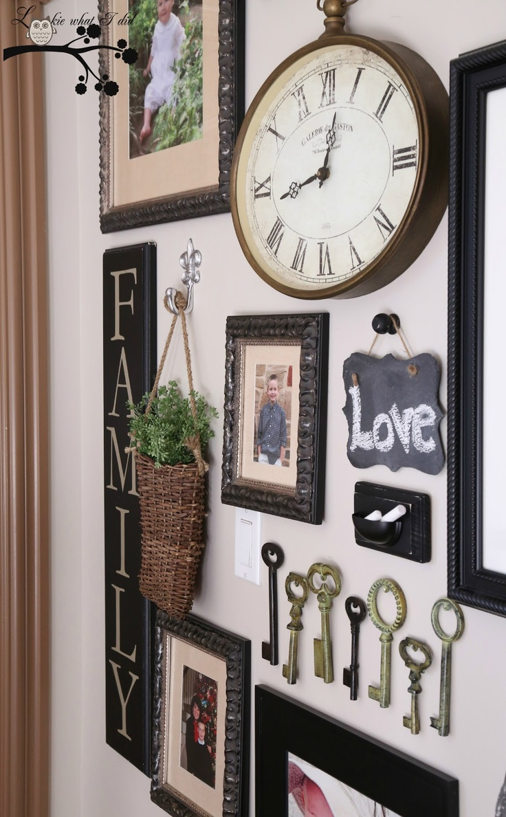 Love this gallery wall! I been wanting a way to display my old skeleton keys! Chalk holder is too cute!/ from  looky what I did