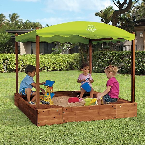 Backyard Sandbox : Wood Sandbox with Canopy @Katie Goodrow, Im wondering if we can make