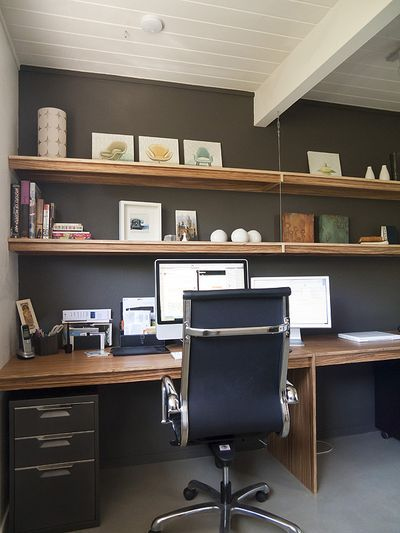wall shelves and desk project ideas.  love the wires for the shelves.