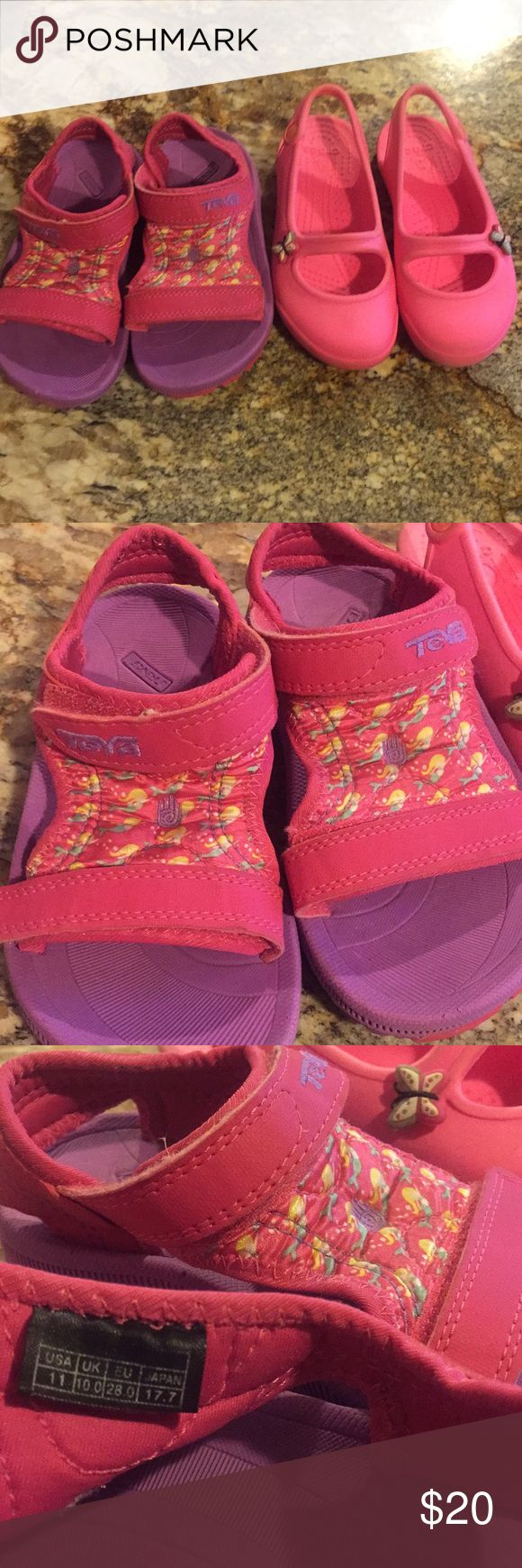 Little girl water shoes in size 11 Used and worn but still has lot of life, both are size 11, this is a pair of teva and crocs. Teva Shoes Water Shoes