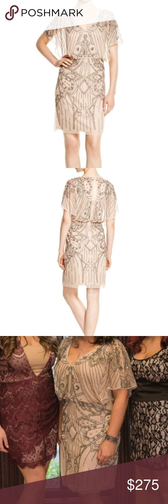 Aidan Mattox embellished blousson dress Beautiful dress, worn one time. Beading is slate- can wear with pewter shoes or beige shoes Aidan Mattox Dresses Wedding