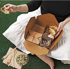 Splendor in the grass. Picnic menu with chile oil grilled chicken, bulgur and wilted chard salad, toasted pita chips with garlic yogurt sauce, marinated peppers, and ginger spice sandwich cookies.