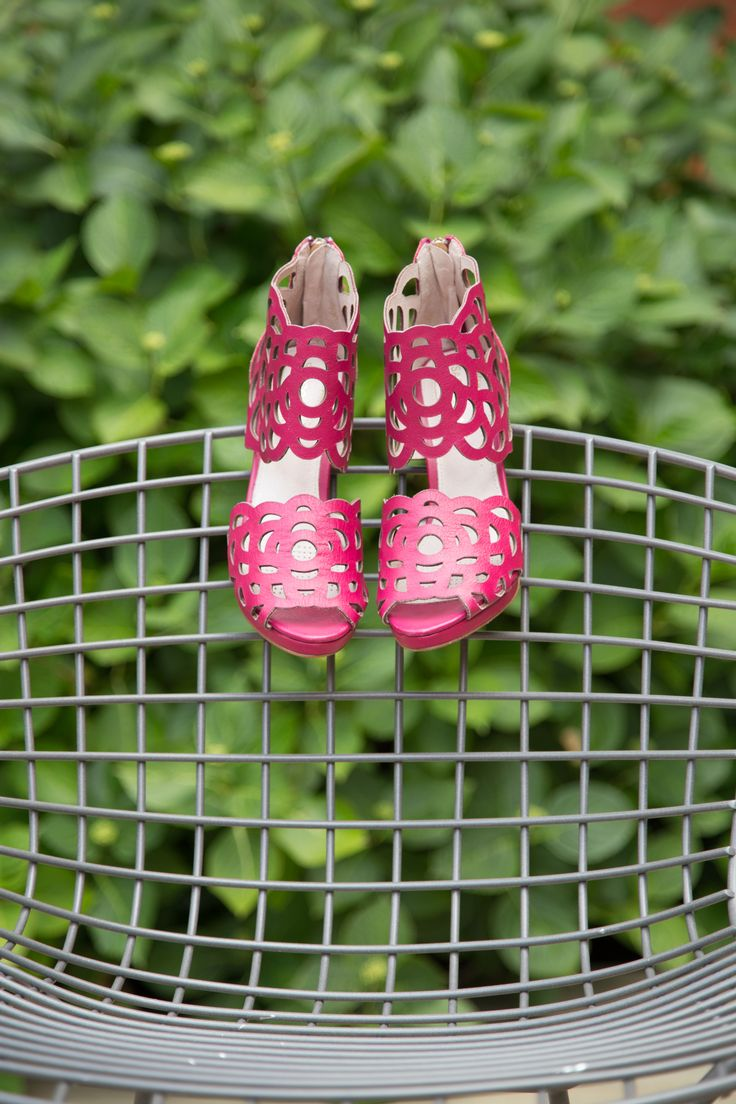Raspberry heels at V&A exhibition